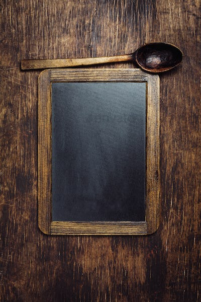 Wooden Spoon and Chalkboard