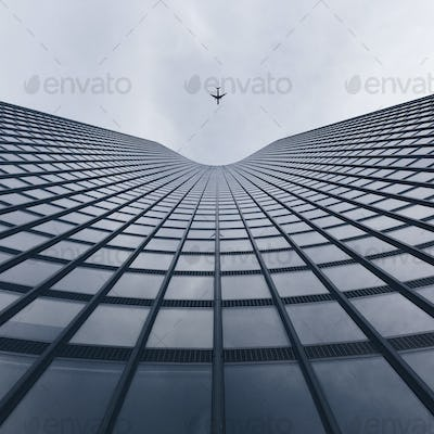 Looking up Modern Buildings with an Airplane