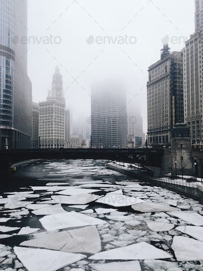 Chicago River With Ice Flows in Winter