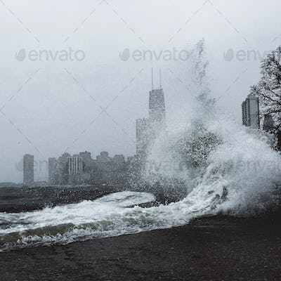 Strong Waves with Chicago Skyline