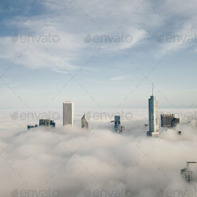 Chicago cityscape above clouds
