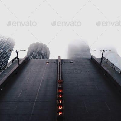 Chicago Bridge Life in Foggy days