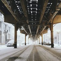 The under belly El Tracks, of the Chicago Transit Authority's Green Line train