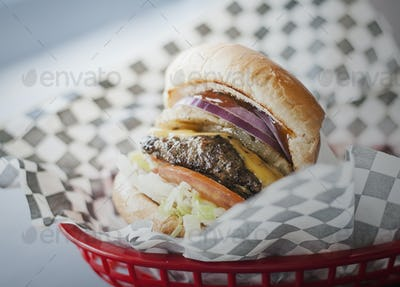 Cheeseburger in a Basket