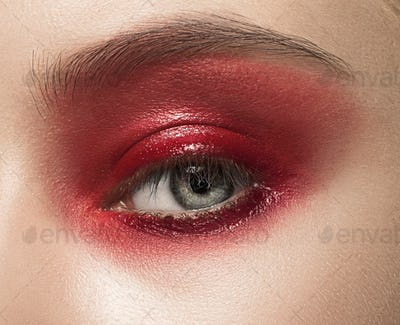 Close-up shot of female eye with makeup