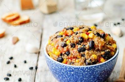 black beans, quinoa and corn chili
