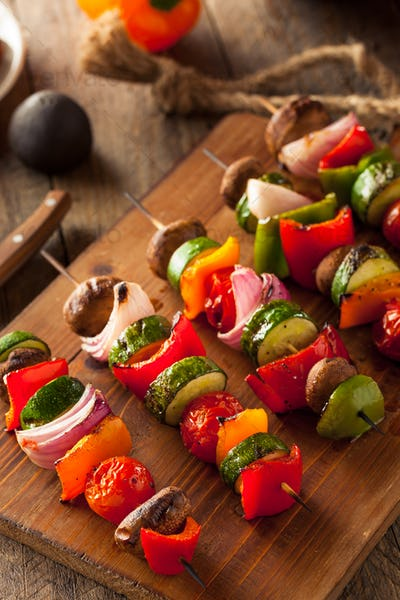 Organic Homemade Vegetable Shish Kababs