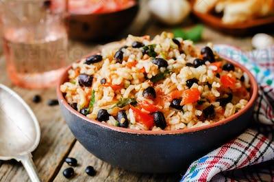 Mexican tomato black beans rice with cilantro