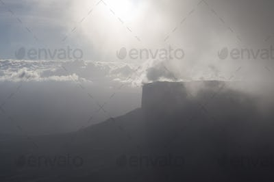 Surreal view on the top of Mount Roraima under the mist