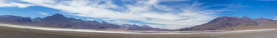 Mountains and salt pan in Eduardo Avaroa Reserve, Bolivia