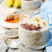 overnight banana oats quinoa Chia seed pudding decorated with ba