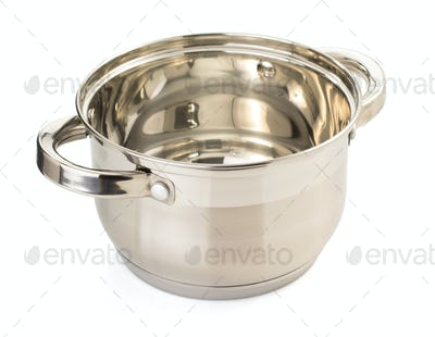 stainless steel pan isolated on
