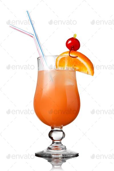 orange cocktail isolated on white