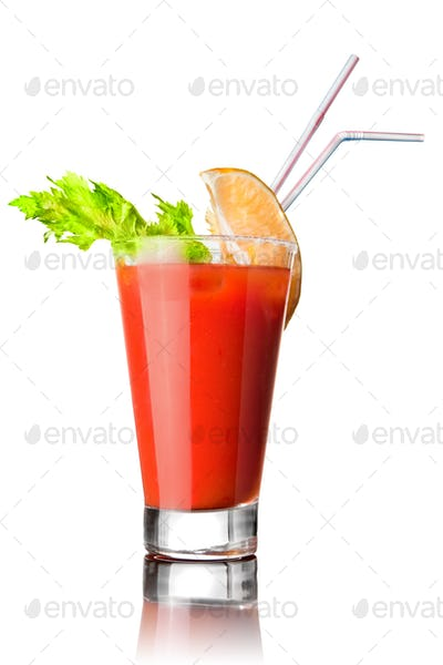 red cocktail isolated on white