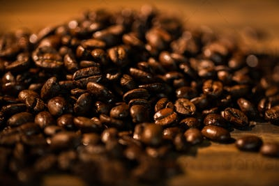 Coffee beans on a table shot in studio