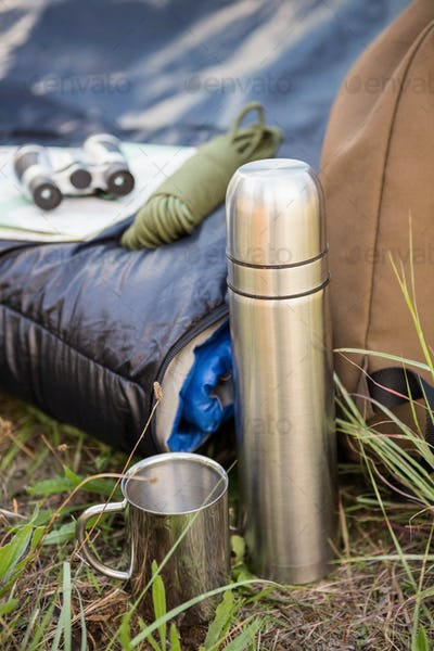Camping equipment in the nature