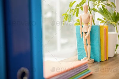 Mannequin and stack of books on wooden window sill in the office