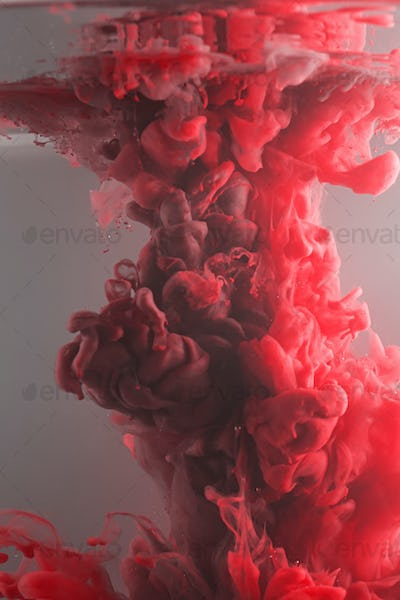 Ink swirling in water, cloud of ink in water isolated on white. Abstract banner paints.