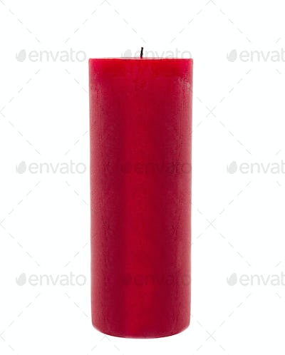 red candle isolated in front of white background
