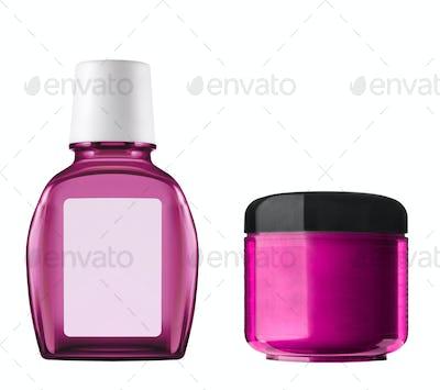 Pink plastic bottles