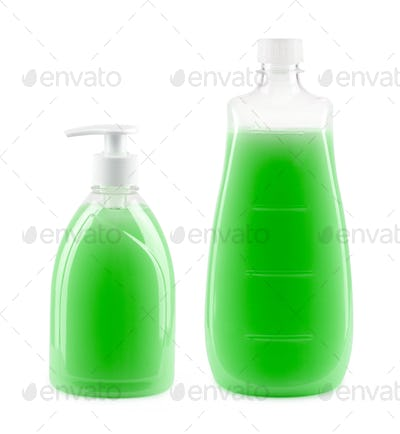 Two bottles with liquid soap