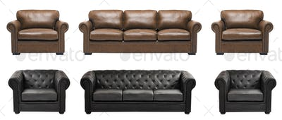 Nice and luxury leather sofa with armchairs
