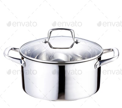 stainless pan on white background