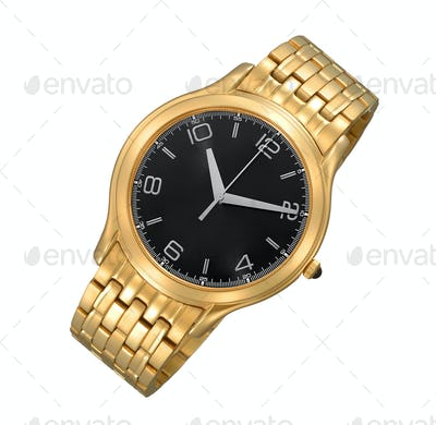 Men's luxury gold wrist watch