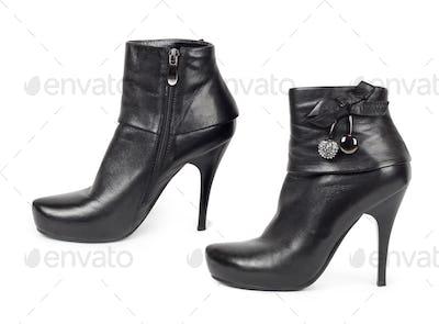 Black patent high heels platform shoe