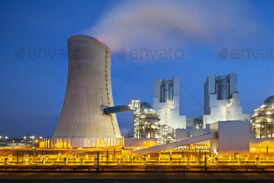Steaming Power Station At Night