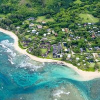 Aerial view of the Kauai shore in Hawaii