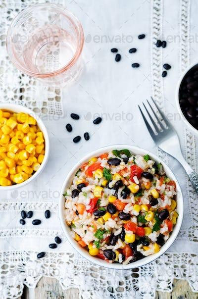 Lime black beans corn rice