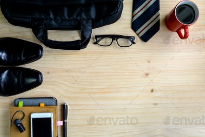 men accessories and cup of coffee on wooden background, Business concept