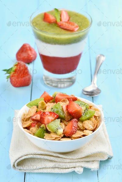 Muesli with fresh fruit and layered dessert
