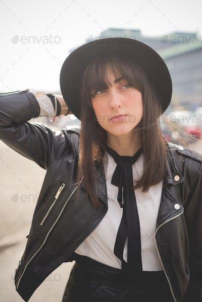 Young beautiful caucasian brown hair woman