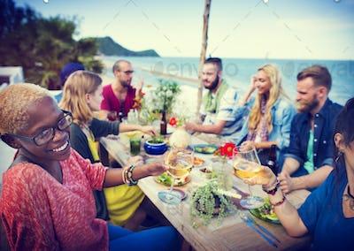 Beach Cheers Celebration Friendship Summer Fun Dinner Concept
