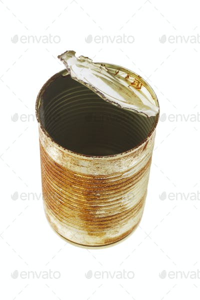 Open rusty tin can