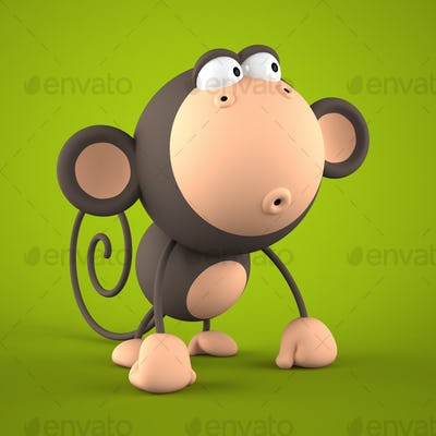 Cartoon monkey isolated on green  background 3D rendering 2