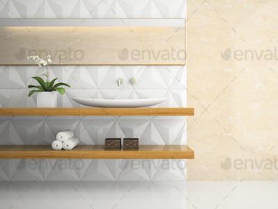 Part of interior stylish white bathroom 3D rendering