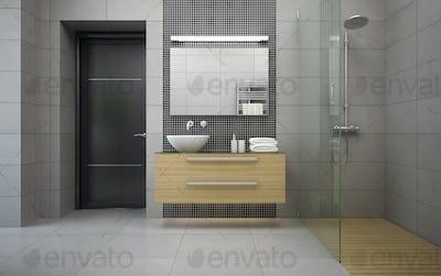 Interior of the modern design  bedroom 3D rendering 3