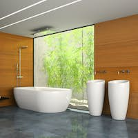 Interior of the bathroom with wooden wall 3D rendering