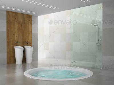 Modern interior of the bedroom 3D rendering
