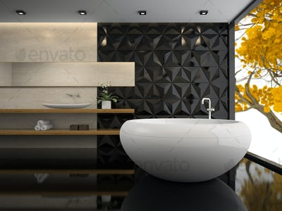 Interior of  stylish bathroom 3D rendering