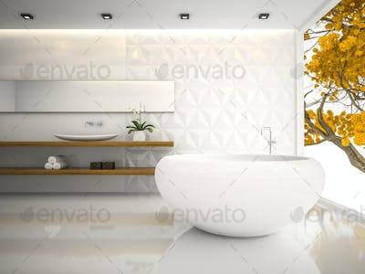 Interior of  white stylish bathroom 3D rendering 3