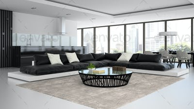 Interior modern design room with black and white sofas 3D render