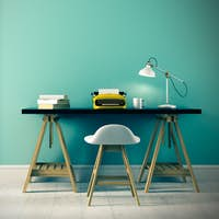 Part of interior with typewriter on the table 3D rendering