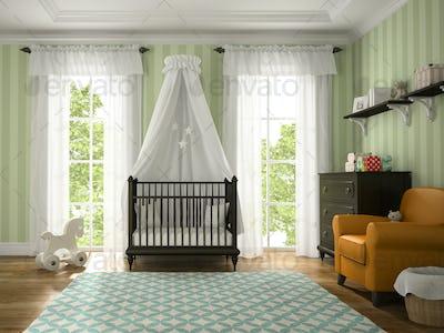 Classic children room with brown cradle 3D rendering