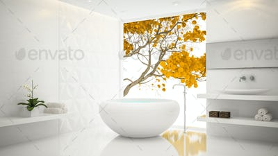 Interior of  white stylish bathroom 3D rendering 2