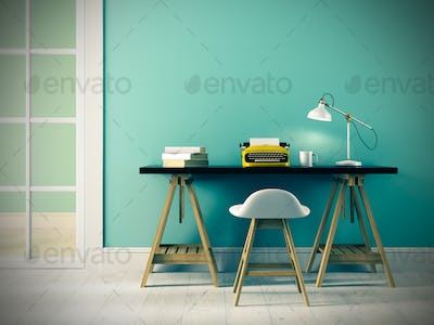 Part of interior with typewriter 3D rendering