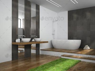 Interior of  bathroom with grass floor 3D rendering